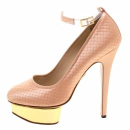 Charlotte Olympia Peach Quilted Satin Dolores Ankle Strap Platform Pumps Size 39
