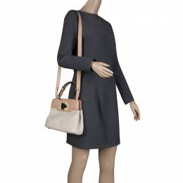 Bvlgari Beige Canvas and Leather Isabella Rossellini Shoulder Bag 116978