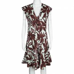 Etro Multicolor Leaf Print Cotton V-Neck Sleeveless Dress M 121351