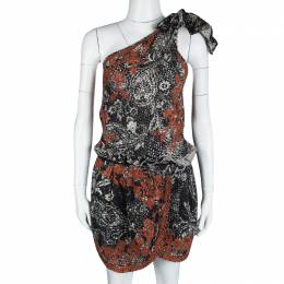 Isabel Marant Black and Red Eyelet Embroidered Knotted One Shoulder Natacha Dress M 116620