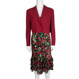Moschino Couture Multicolor Cherry Print Bottom Ruffle Detail Dress and Blazer Set M 117293