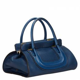 Chloe Blue Leather Everston Satchel Bag