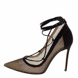 Gianvito Rossi Black Suede And Mesh Lace Up Pointed Toe Pumps Size 38.5 259842