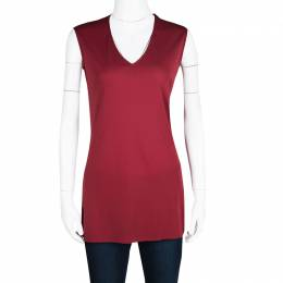 Dolce&Gabbana Red Knit Sleeveless V Neck Tunic S 120698