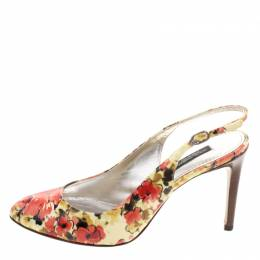 Dolce&Gabbana Floral Print Patent Leather Slingback Sandals Size 36 114096