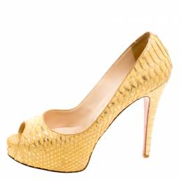 Christian Louboutin Metallic Gold Python Leather Altadama Peep Toe Pumps Size 40 118733
