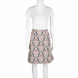 Carven Multicolor Printed Cotton Poplin Skirt M