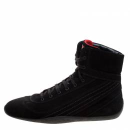 Tod's For Ferrari Black Suede Hi-Top Sneakers Size 39.5 121328