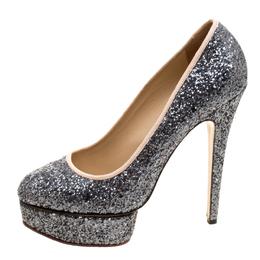 Charlotte Olympia Metallic Glitter Priscilla Platform Pumps Size 41 117947