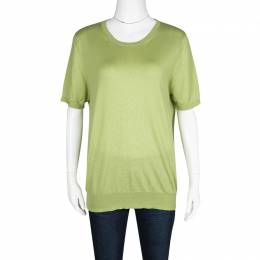 Etro Green Wool Silk Rib Trim Short Sleeve Sweater L