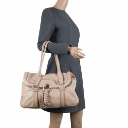 Celine Beige Leather Boston Bag 124334