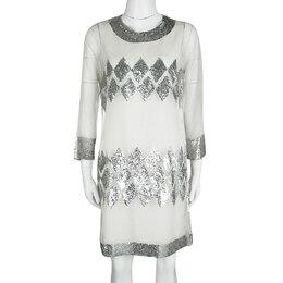 Barbara Bui Off White Organza Sequin Embellished Shift Dress M 120810