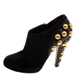 Gucci Black Suede Vintage Babouska Studded Heel Ankle Boots Size 37.5 118394