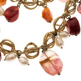 Oscar De La Renta Multi Stone Faux Pearl Gold Tone Two Strand Necklace 118537