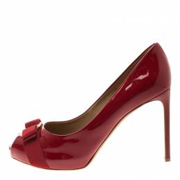 Salvatore Ferragamo Red Patent Leather Plum Peep Toe Platform Pumps Size 41 118664