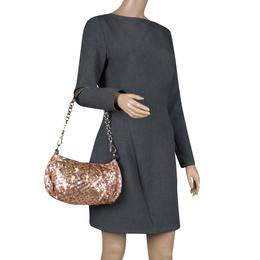 Prada Blush Pink/Bronze Satin Sequin Embellished Shoulder Bag 118419