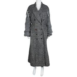 Joseph Grey Check Jersey and Jacquard Wool Al Maxi Overcoat L 114299
