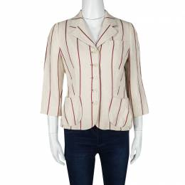 Mulberry Cream and Red Striped Linen Blazer M 120014