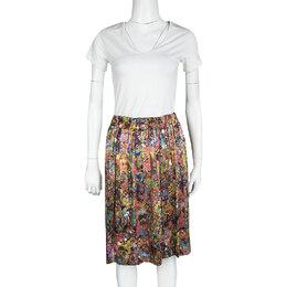 Dries Van Noten Multicolor Printed Silk Pleat Detail Skirt M 119934