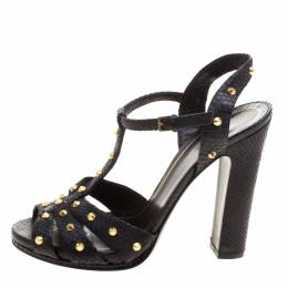 Gucci Black Studded Python Leather T-Strap Slingback Sandals Size 37.5 116857