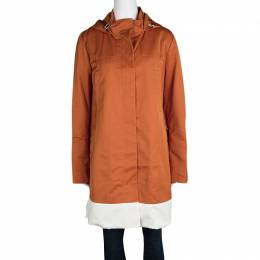 Joseph Orange Techno Taffeta Contrast Trim Hooded Zero Jacket L 114915