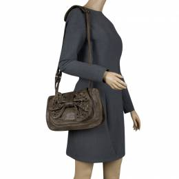 3.1 Phillip Lim Khaki Leather Bow Studded Edie Shoulder Bag 119883