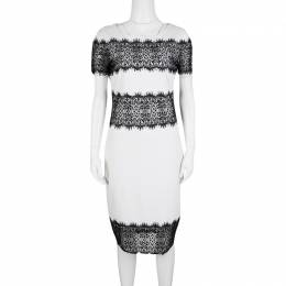 Escada Monochrome Scallop Lace Panel Detail Short Sleeve Dress XS