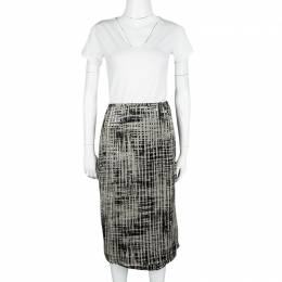 Max Mara Beige and Black Textured Wrap Skirt M