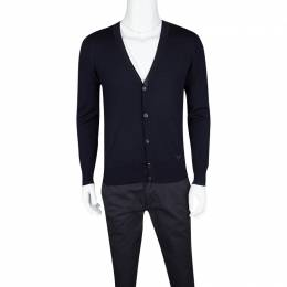 Emporio Armani Navy Blue Wool Ribbed Trim Cardigan S 119061