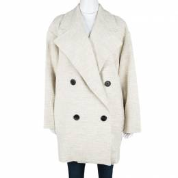 Joseph Beige Stone Summer Tweed Double Breasted Maubert Coat L 114464