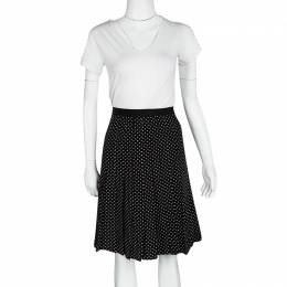 Tory Burch Monochrome Polka Dot Pleated Silk Erica Skirt L