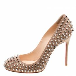 Christian Louboutin Beige Leather Fifi Spike Pumps Size 37.5 121531