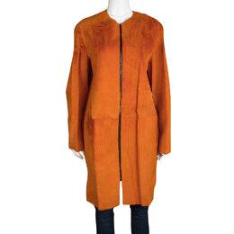 Joseph Orange Fur Kangaroo Skin Zip Front Sydney Coat M 114925