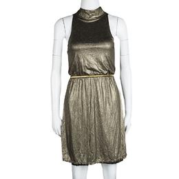 Alice + Olivia Metallic Gold Sleeveless Belted Estelle Dress XS 113573