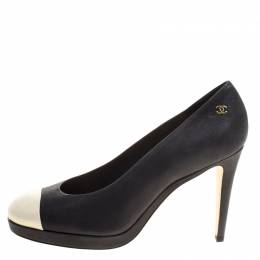 Chanel Two Tone Leather Cap Toe Platform Pumps Size 41 113176