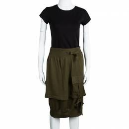 Yves Saint Laurent Olive Green Wool Button Front Layered Skirt S 107409