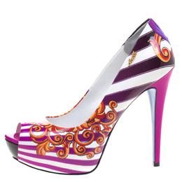 Loriblu Multicolor Print Patent Leather Peep Toe Pumps Size 40 106623