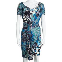 Emilio Pucci Multicolor Printed Silk Embellished Shoulder Detail Belted Dress S 107387