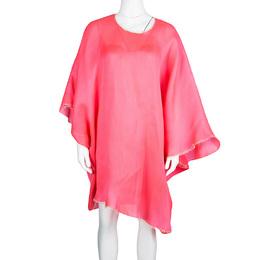 Roksanda Neon Pink Basketweave Oversized Poncho Style Tunic S 107871