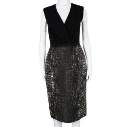 Giambattista Valli Black Croc Print Sleeveless Dress M