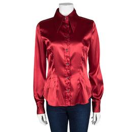 D&G Red Button Front Long Sleeve Shirt M Dandg 103418
