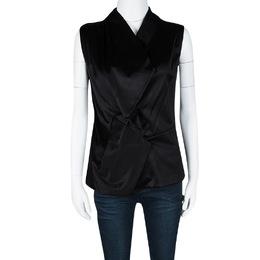 Balenciaga Black Satin Sleeveless Asymmetric Vest M 106423