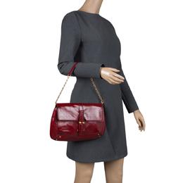Saint Laurent Red Patent Leather Emma Chain Shoulder Bag 111225