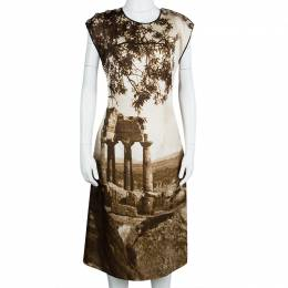 Dolce&Gabbana Spring'14 Digital Greek Temple Print Silk Dress M 107284