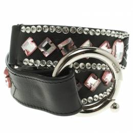 Chloe Black Leather Stone Embellished Belt 80cm 104001