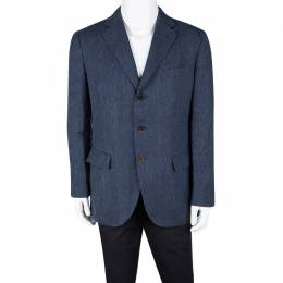 Loro Piana Blue Linen Tailored Blazer L 111369