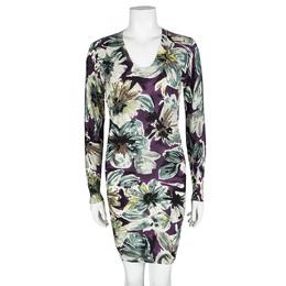 D&G Multicolor Floral Printed Wool V-Neck Sweater Dress S Dandg 103599