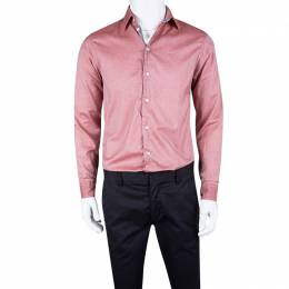 Armani Collezioni Pink Cotton Long Sleeve Button Front Shirt S 109470