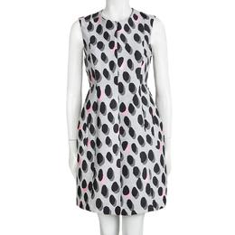Diane Von Furstenberg Grey New Summer Mini Animal Dots Sleeveless Dress S 98630