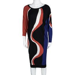 Alexander McQueen Multicolor Patterned Wool Dolman Sleeve Dress L 106867